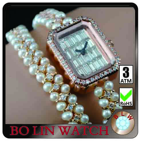 ladies watch/true pearls chain/japan movement/water resistant/brass case/diamonds, ladies beaded bracelet watch