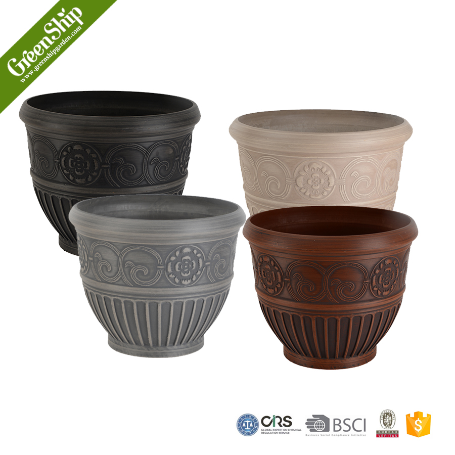 Different type large round plant pots outdoor flower pot garden decoration