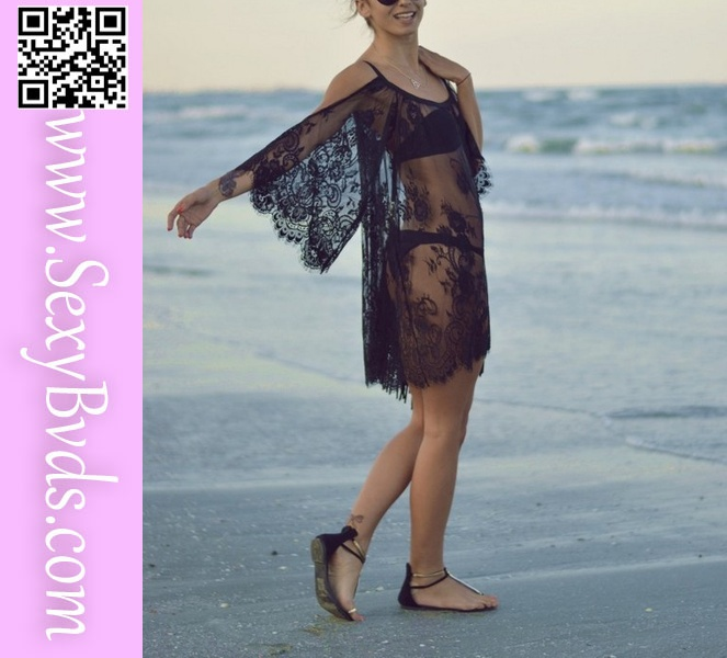 <strong>Sexy</strong> women' Lace Beach Cover Dress 2015