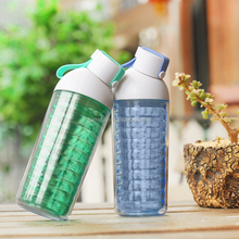 Creative design plastic water bottle double wall with small mouth