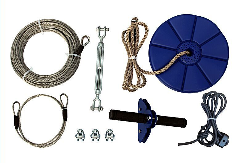 CTSC 95' Flyer Clover Zipline Kit with BRAKE & SEAT to Bring Your Family a Healthy Outdoor Activity and Have Super Fun