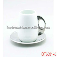 ceramic coffee cup set with stainless steel saucer
