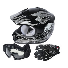 Youth Skull Bike Motocross Helmet Goggles gloves Interphone S M L DOT Helmet