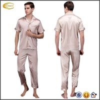 Ecoach Wholesale OEM Mens Washable Silk Satin Short Sleeve Turn-down Collar Solid Color Smooth Pajamas
