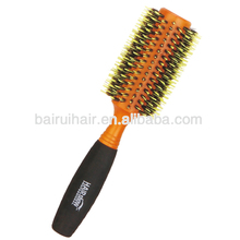 Professional Design Beautiful Wood Thermal Nylon Bristles Round Hair Brush With Non-slip Foam Handle