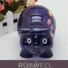 Four sepereate slot pig shaped clear plastic money box for kids