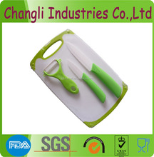 colorful 3pcs ceramic knives set with plastic cutting board
