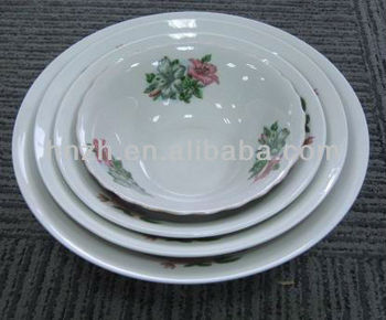 fresh porcelain material painted bowl and dish and plates design /white soup bowls and plates set