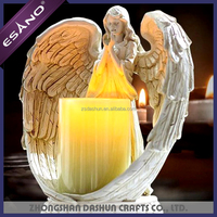 Hotsale resin angel statue candle holder