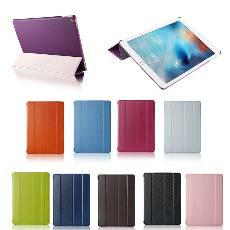 new products litchi pattern four folding leather stand case for ipad pro 9.7''