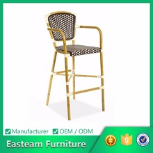 Rattan furniture bamboo bar chair with back metal bar chair