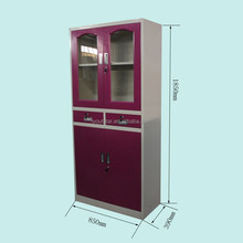 KD Double Glass Door Steel Files Locker with Middle Drawers