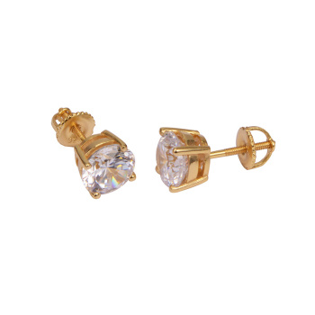 14K Yellow Solid Plaiting Gold CZ Diamond Solitaire Stud Earrings 0.60 Ctw