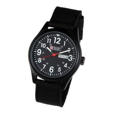 Mens Military Black Dial Fabric Strap Swiss Design Date Sport Army Watch MR051
