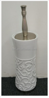 hot selling 110*110*395mm design toilet brush with ceramic holder