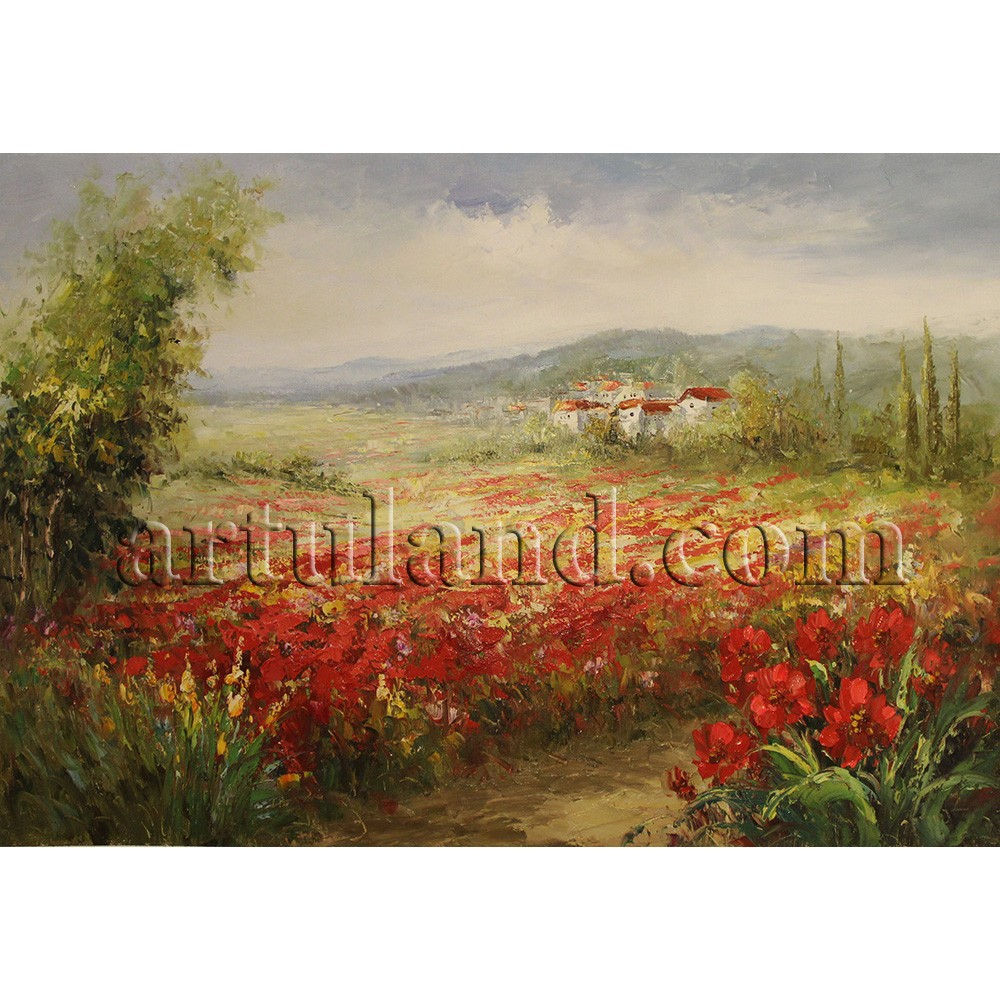 Hot sales beautiful scenery oil paintings of red poppies at wholesale prices