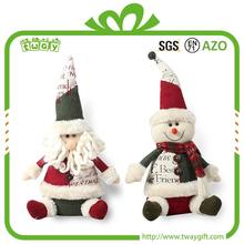 christmas decorative ornaments santa snowman decoration Sitting santa clause personalized soft plush toy stuffed doll