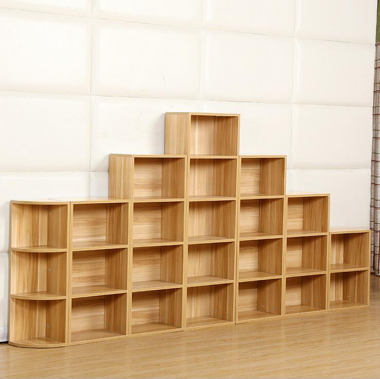 A simple bookshelf bookcase wood creative free combination storage grid book cabinet