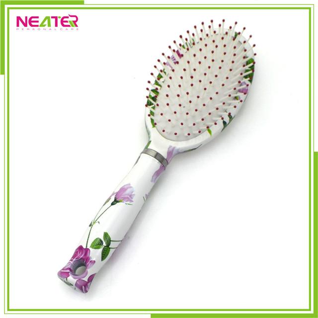 Colorful custom flower design plastic professional hair brush