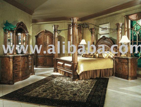king poster canopy bedroom monte carlo set classic pecan aico ii silver snow