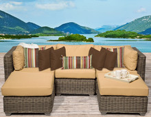 round rattan sofa design patio sun bed for 2 with ottoman footrest widely used lounge furniture