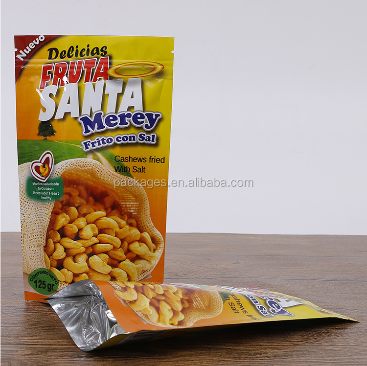 Custom logo laminated frosted poly zipper food bag for banana chips