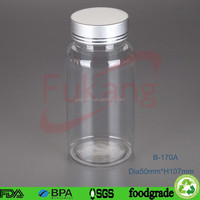 170cc clear tattoo supplies medical plastic jar PET pharmaceutical plastic container with aluminum lid