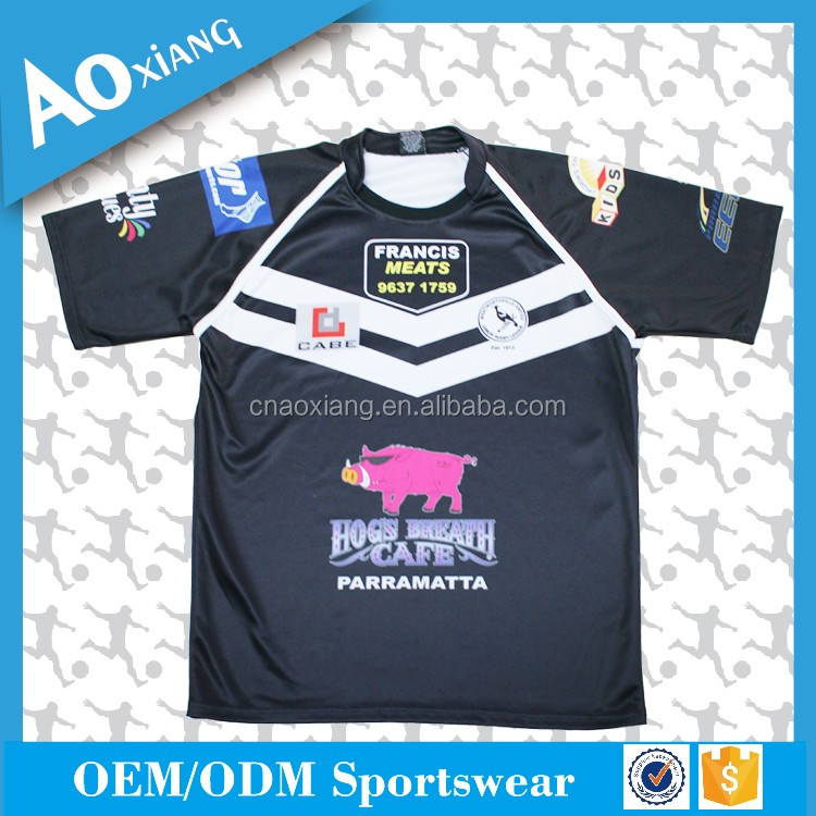 2017 New arrived unisex breathable plus size rugby jersey sets with sublimation pattern and logo
