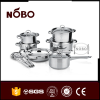 High quality stainless steel cookware set with steel lid