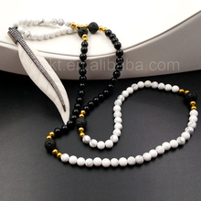 WT-N907 Gorgeous leaf White buffalo bone black and white Bead Necklace ,CZ Micro pave on top 18 inches handmade Bead Necklace