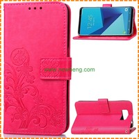 Hot Selling Embossed Clover Flip Wallet Pu Leather Phone Case For Samsung Galaxy S8
