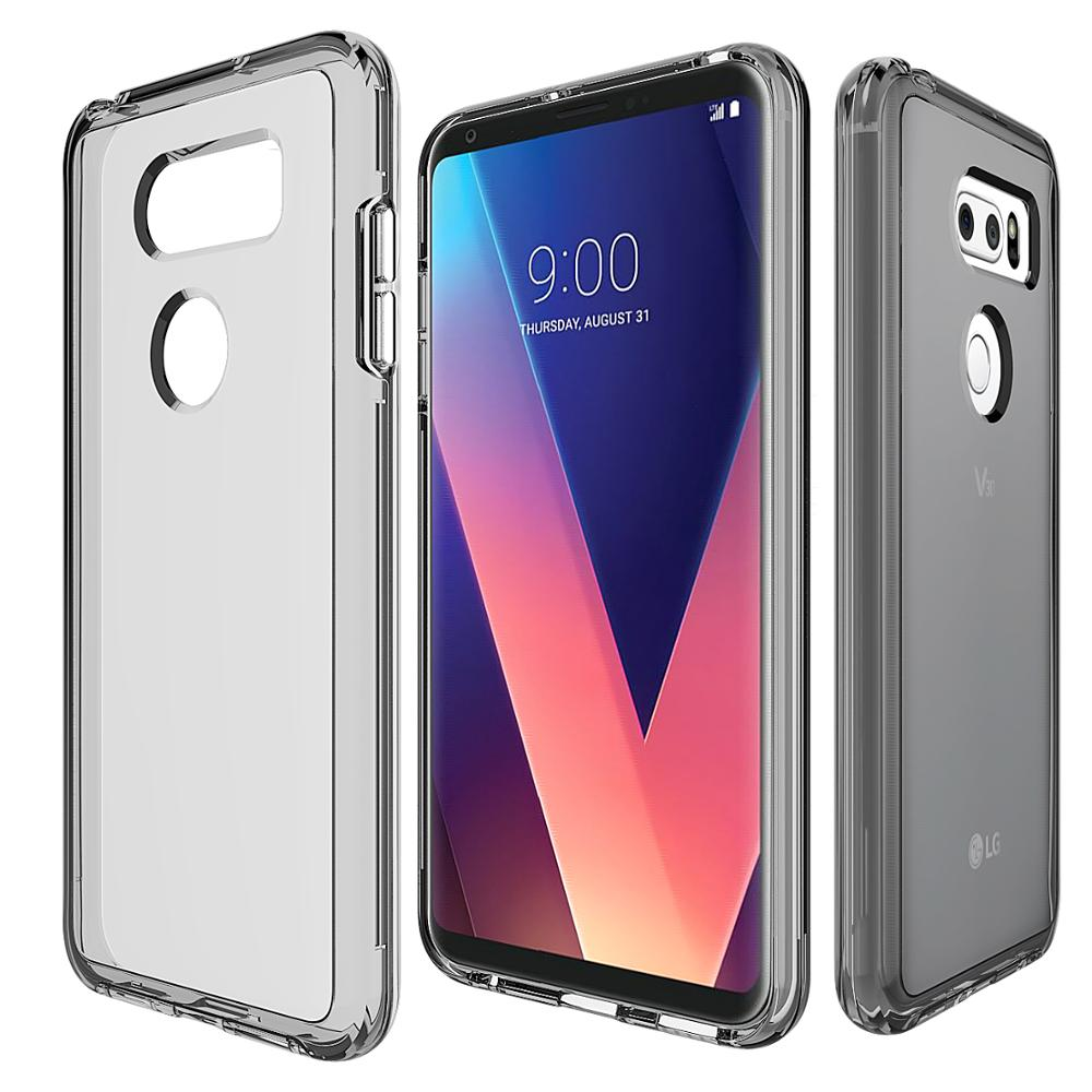 High quality soft tpu bumper and hard pc clear mobile back covers for lg v30