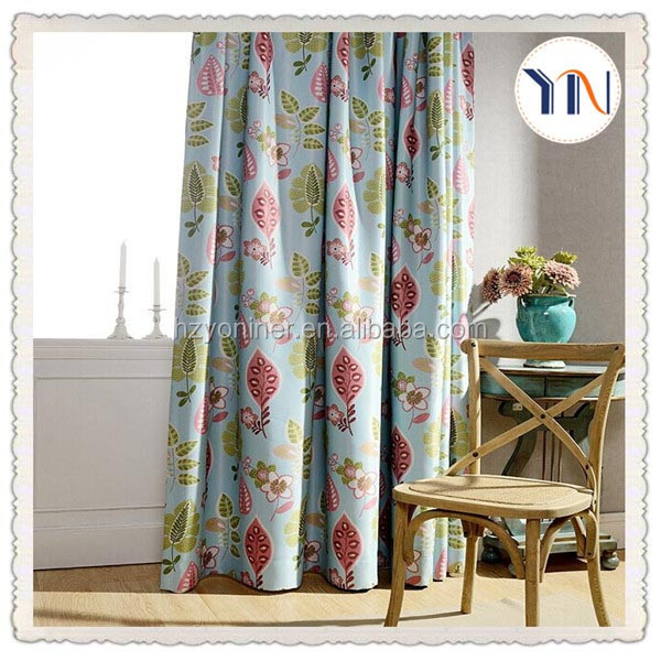 cute style fashion blackout leaf design curtain fabric