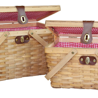 Woodchip Red Grid Liner Picnic Basket