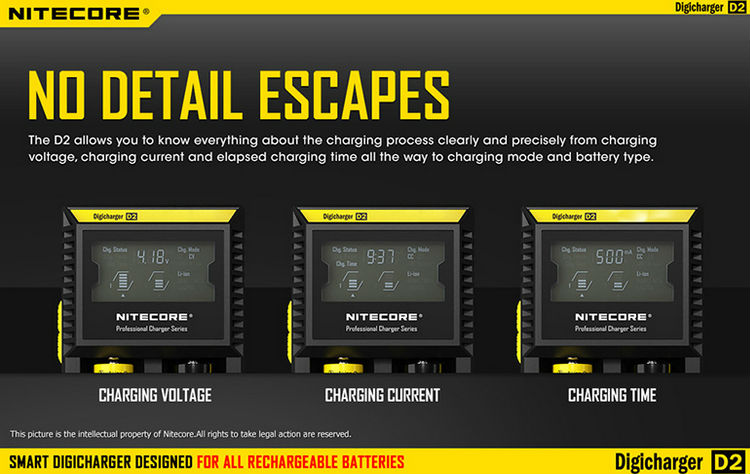 wholesale Nitecore D2 intelligent charger solar battery charger nitecore d2