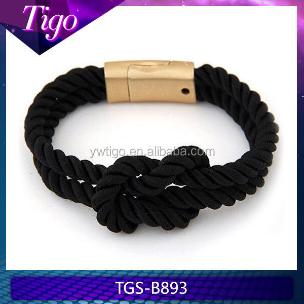 nautical knot rope bracelet with gold clasp