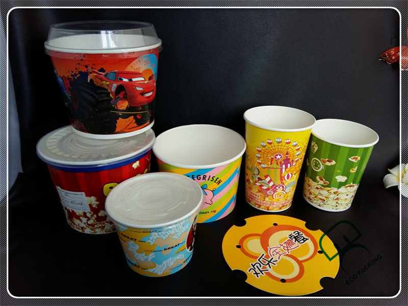 A grade food big paper popcorn cup custom popcorn boxes for sale