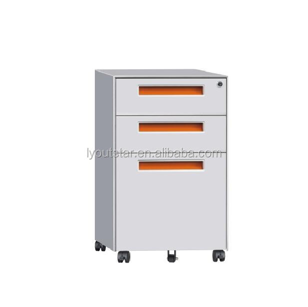 A4 file storage movalbe 3 drawers steel mobile pedestal cabinet with wheel