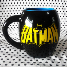 Thick and Round Two colors Glazed ceramic coffee mug with batman design