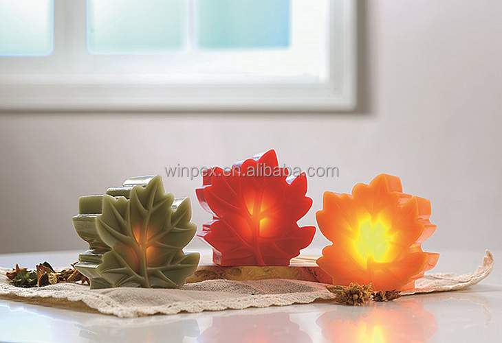 S/3 Assorted Color LED Maple Leaves Shaped Candles
