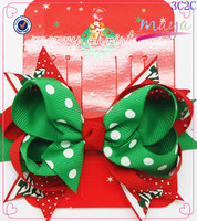 Christmas Day Green hair bow hair clips(approved by BV)