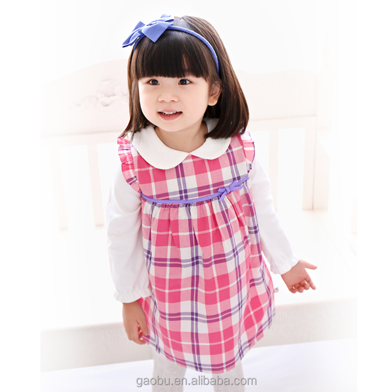Autumn Spring Infant Girl Clothing Long Sleeves Plaid Casual Dresses