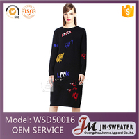 Nice pattern design casual knitted black kneen-length sweater dresses women