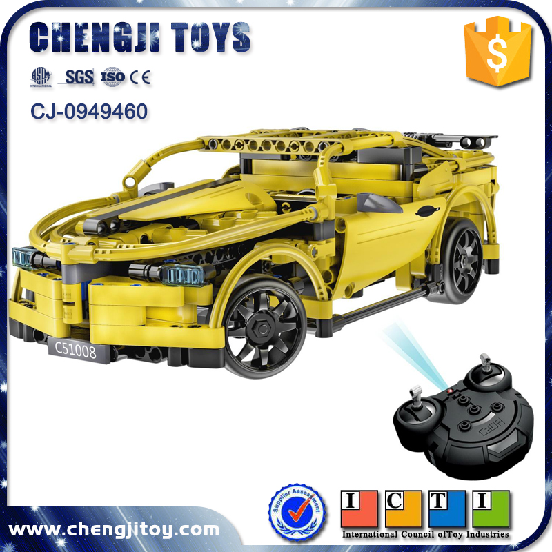 Electric technic DIY building blocks racing car with USB 2.4G rc car kit