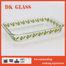 Glass baking tray/ baking plate/ bread dish with leaf decal microwave oven safe