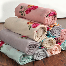 Women cotton and linen floral embroidered scarf and shawl