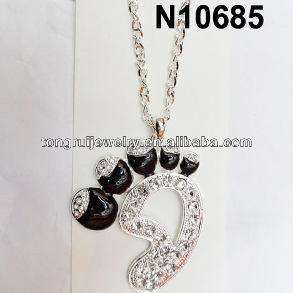 crystal foot paw print pendant necklace