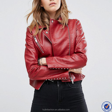 zipped cuffs women jacket wholesale asymmetric zip plain red leather jacket