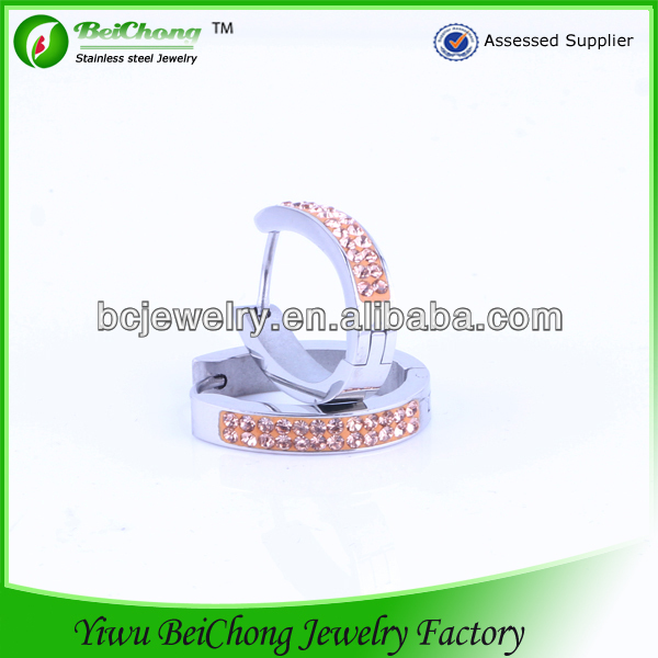 YiWu showme jewelry factory bulk hoop earrings designs with CZ stones stainless steel earring