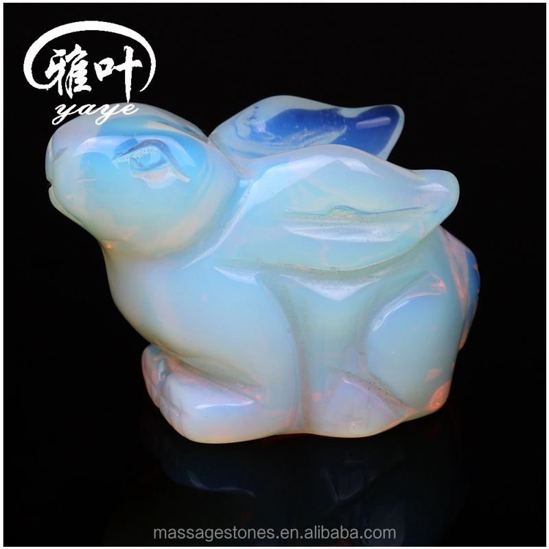 Decorative Gemstones Hand Carved Easter Rabbits/Opal Animal Figurines/Statues/Sculptures for Sale